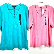 NWT Nicole Miller New York  V-neck TEE Shirt Top Modal Henley LOT OF 2 XL 2280-1