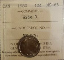 1980 CANADA 10 CENTS Wide O ICCS Ms65