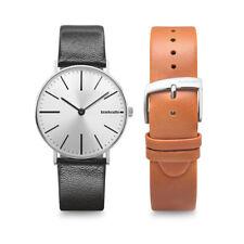 Lambretta Cesare Silver Black Watch +Black & Cognac Leather Straps Duo Kit #O2
