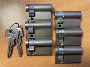 ABUS 45mm euro cylinder door lock barrels, keyed-alike group, 6 x cylinders