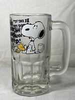 Peanuts Snoopy Woodstock Root Beer Fall Asleep Glass Cup Beer Mug 1965 Vintage