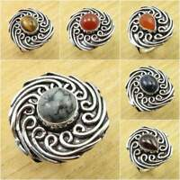 925 Silver Plated Over Solid Copper, Real SODALITE & Other Stones Ring Jewelry