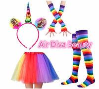 Women Girl Rainbow Colorful Tutu skirt Gloves Socks Unicorn headband Costume Set