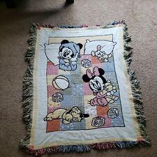 VTG Mickey Mouse Minnie Disney Pluto Baby security Blanket 46 x 34