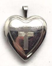 Sterling Silver 925 Heart Love Picture Locket Religious Cross Etch Matte Pendant