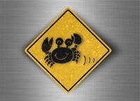 Sticker decal warning beware road sign warning crab