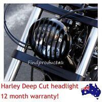 "Deep Cut Grill Vintage Antique Custom Black Headlight 6.5"" Chopper Bobber Harley"