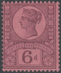 1887 JUBILEE SG208 6d PURPLE ON ROSE RED PAPER MINT BARELY HINGED K37(1)