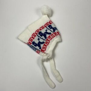 Vintage Up To 24M White Pom Pom Knitted Baby Snowflake Horse Dog Winter Hat