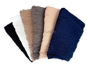 Crinkle Cotton Pleated Plain Hijab Premium High Quality Super Soft Scarf  Shawl