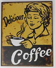 Targa di latta caffè Cucina Decorazione Retrò NOSTALGIA Macchina del