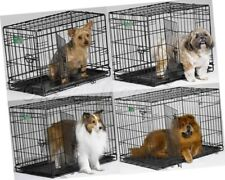 Dog Crate Cage Folding Double Door Divider House Training Portable Handle Metal