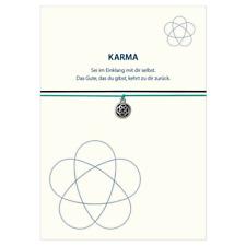 Armband Karma Knoten schwarz/türkis versilbertes Metall Elastikband, Schmuck