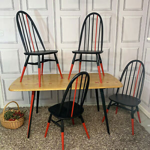 ERCOL DINING TABLE & CHAIRS RESIN TABLE PAINTED BLACK & RED MID CENTURY MODERN