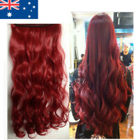 Realistic Human Invisible Real Hair Extensions Red Curly Extentions 24""