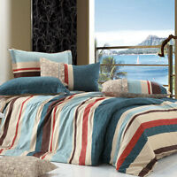 Ardor Toledo Striped 250TC 100% Cotton Quilt Doona Cover Set - SINGLE DOUBLE