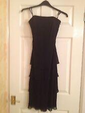 Ladies Debenhams Debut black party prom dress 100% silk -size 8 RRP £8