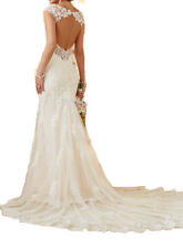 White Ivory Lace Mermaid Wedding Dress Bridal Gown Custom Size 6 8 10 12 14 16 +