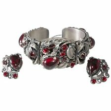 1950s Set Red Rhinestone Silver Plated Hinged Cuff Bracelet Earrings