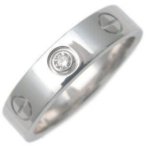 Auth Cartier Mini Love Ring 1P Diamond K18WG 750 White Gold #47 US4-4.5 Used F/S