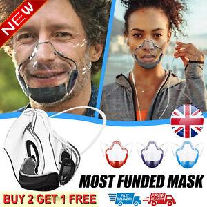 Durable Mask Face Shield Plastic Reusable Clear Transparent Protection Masks NEW