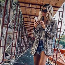 Womens Snakeskin Leopard Blazer Long Sleeve Coat Slim Fit Outwear Cardigan Tops