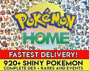 Pokemon Home ALL 920 SHINY Full Living Dex All Gen 1-7 Pokedex FASTEST DELIVERY!