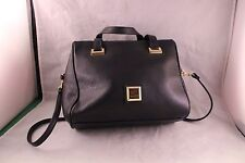 MONDANI BLACK LEATHER PURSE WITH GOLDTONE TRIM, DOUBLE HANDLES & SHOULDER STRAP