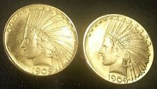 1909 U.S. Gold Indian Head War Bonnet $10 Eagle Large Unique Coin Cufflinks +Box