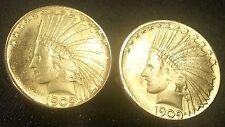 1909 U.S. Gold Indian Head War Bonnet $10 Eagle Large Unique Coin Cufflinks +Box