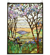 MAGNOLIA & IRIS STAINED AND LEADED GLASS WINDOW, TIFFANY STUDIOS INSPIRED, NICE~