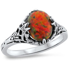 ORANGE LAB FIRE OPAL ANTIQUE DECO STYLE .925 STERLING SILVER RING SIZE 5.75,#245