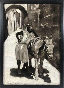 "Antique 1892 James Kinsella ""High Noon"" Orientalist African Street, Oil / Canvas"