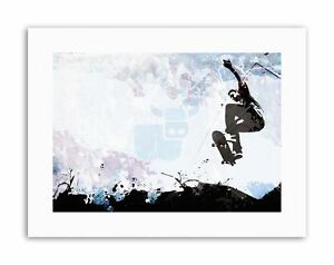 SKATEBOARD JUMP AIR ABSTRACT Poster Painting Illustration Sport Canvas art