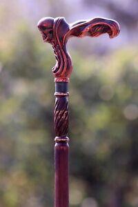 Designer Art Wooden Cane Walking Stick Goth Style Skull Walking Cane Stick