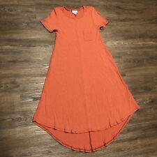 Luluroe Carly Vestido XS Naranja Camiseta Cambio Corto Manga Sólido de Canalé