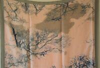 XXL SCHAL, Japanisches Design mit Bäumen, Alt Rosa - Grau - Blau, Seide/ Viskose