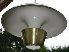 "Pair Vintage Very Large 27"" Cinema Pendant Lights Lamps Brass & Aluminum 300W"