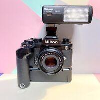 Nikon FA 35mm SLR Film Camera Kit + Nikon 50mm 1.8 E Series Lens Winder, Flash!!