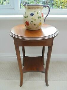 Small Edwardian inlaid plant stand wine table, under shelf, lamp display