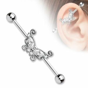 Piercing Industrial Butterfly Stones White