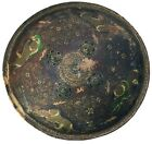 19th CENTURY INDO-PERSIAN LEATHER HIDE PAINTED SHIELD FROM RAJASTHAN. #9602