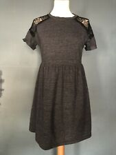 bc2dc22f3fa0 Topshop Petite Short Sleeve Lace Dress Grey Black Size 10 Small