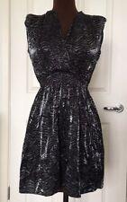 RIVER ISLAND sz 6 silver black dress animal print plunge v neck skater skirt