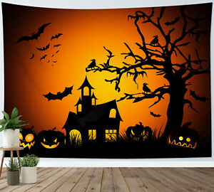 Haunted House Pumpkin Tapestry Halloween Wall Hanging For Living Room Bedroom