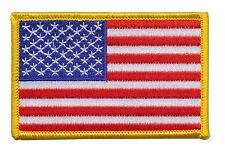 US American Flag Patch, Gold Merrowed Edge, USA, Veterans, Firefighters, Police