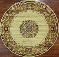 8 Foot Round Area Rug New Large Huge Royal Border Gold Ivory Beige Pattern