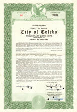 City of Toledo > Lucas County Ohio $10,000 bond certificate > Mayor autograph
