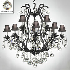 WROUGHT IRON CHANDELIER CHANDELIERS LIGHTING DRESSED W/ CRYSTAL BALLS & SHADES!