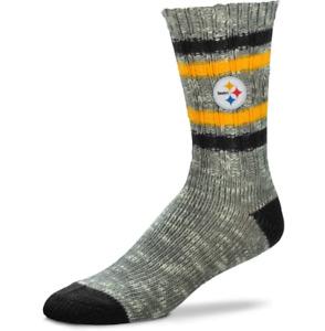 Pittsburgh Steelers Football Gray Alpine Knit Tweed Sweater Crew Socks